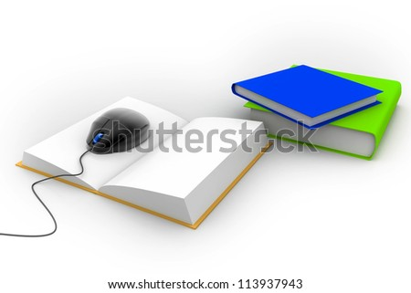 3d Computer mouse and books - e-learning concept