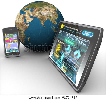 3d computer tablet, phone and land on a white background isolated