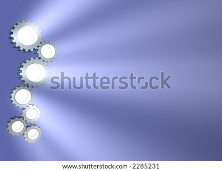 3d concept art showing light beaming out of connecting gears. lots of copyspace.