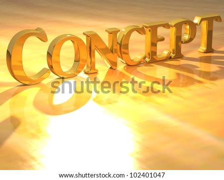 3D Concept Gold text over yellow background