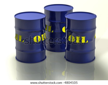3d concept illustration of 3 oil barrels with a nice reflection