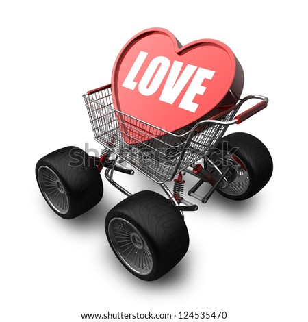 3d Concept LOVE cart with big car wheel isolated on white background High resolution