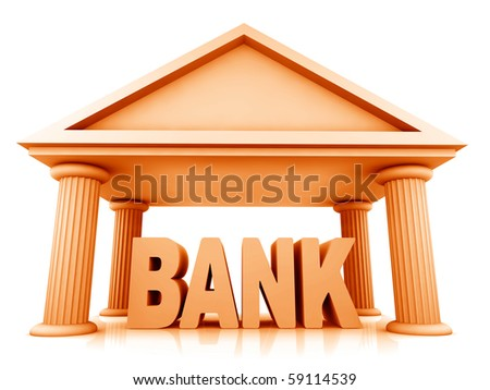 3d concept of bank isolated on white