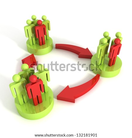 3d concept of interaction of different groups of people