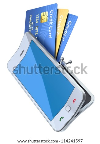 3D concept with mobile phone and credit cards