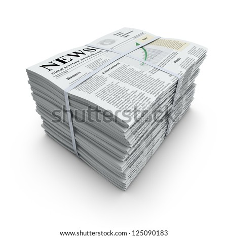 3D concept with pile of newspapers with lorem ipsum text