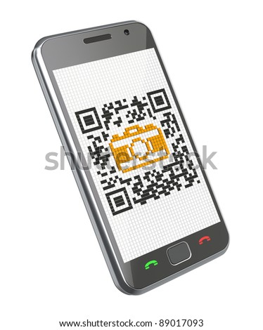 3D concept with smartphone and QR code with the camera icon