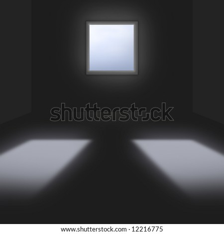 3d conceptional dark room with single window & two reflections