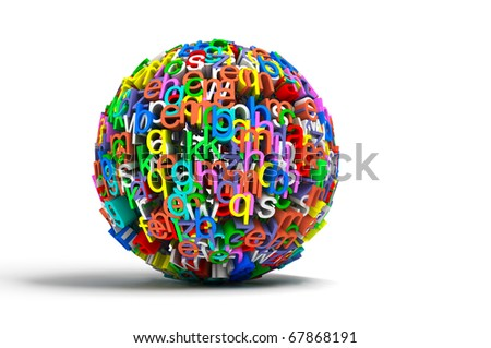 3d conceptual illustration with colored ball letters isolated in white