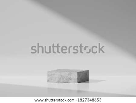 3D concrete Pedestal podium on  white background. Gray display for beauty product, cosmetic promotion. Natural rock, grey stone. Minimal, industrial scene. Abstract 3d render with copy space