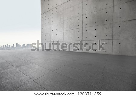 3D Concrete wall and parking lot #1203711859
