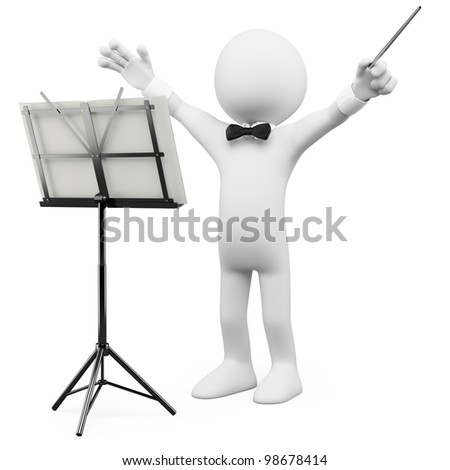 3D conductor leading the orchestra. Rendered at high resolution on a white background with diffuse shadows.
