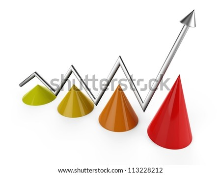 3D cone bar chart..Bar graph...Business graph...