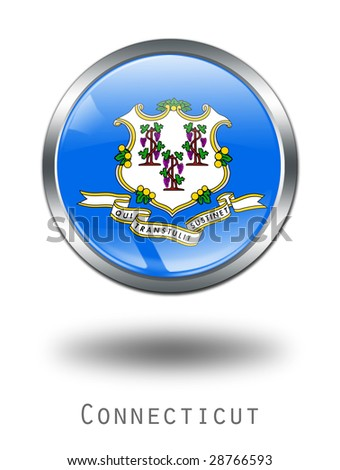 3D  Connecticut Flag button illustration on a white background