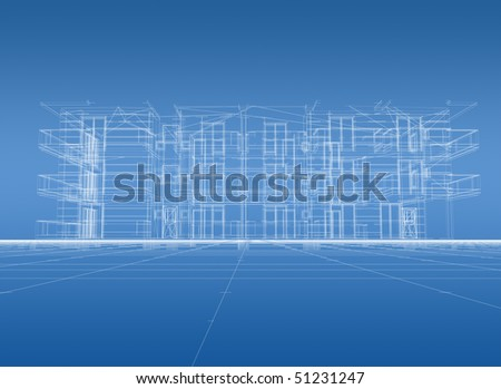 3D construction blue print
