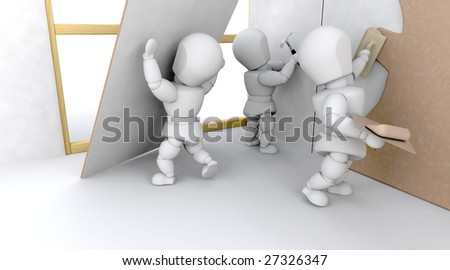 3D construction team building a house isolated - stock photo