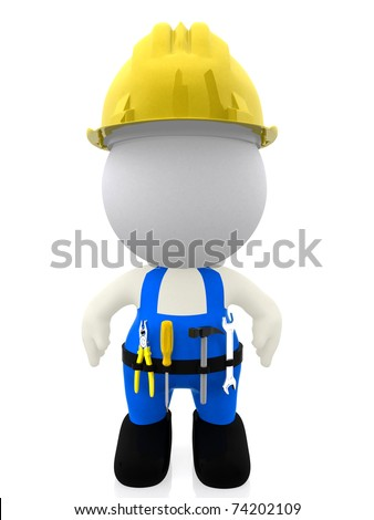 3D construction worker isolated over a white background - stock photo