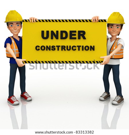 3D construction workers holding a sign ? isolated over white