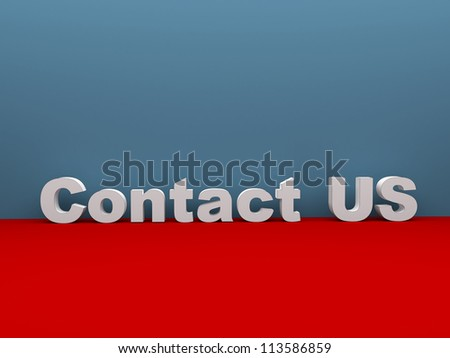 3d contact us text in blue red room