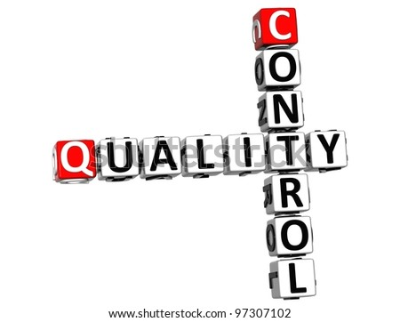 3D Control Quality text Crossword over white background