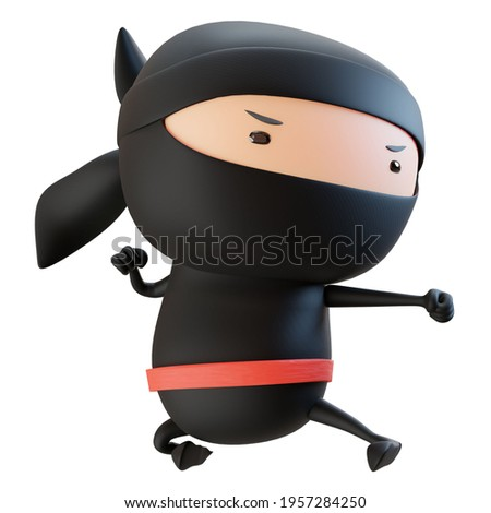 3D  Cool Ninja Cartoon Picture showing a punching gesture