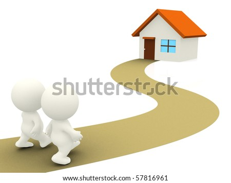 3D Couple walking towards home - isolated over a white background