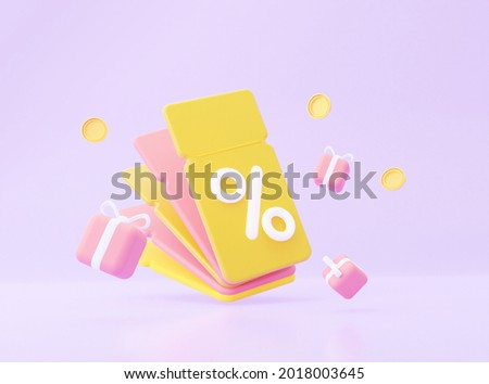 3d coupons with gifts and a coins. 3d rendering.
