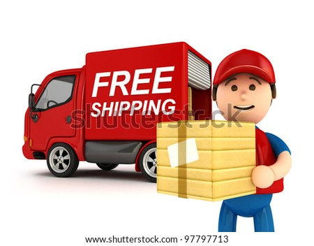 "3D Courier Man with ""Free Shipping"" Written Truck - isolated"
