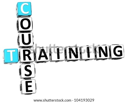 3D Course Training Crossword on white background