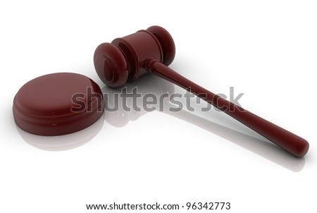 3d court hammer on a white background