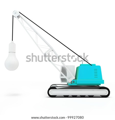 3d crane with lamp on white background