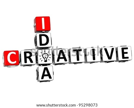 3D Creative Idea Crossword on white background