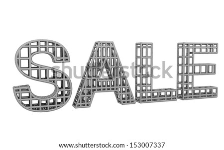 3d Creative sale text made of lines on white background