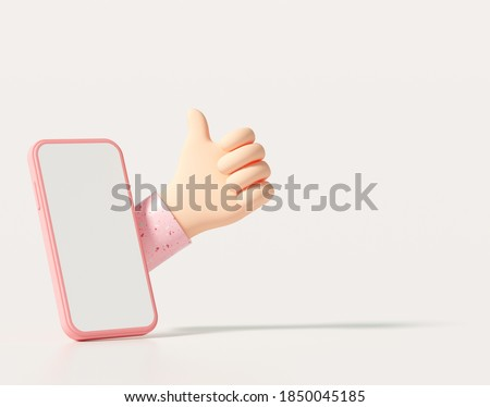 3d creative thumbs up, like it, love on social media by smartphone. 3d rendering illustration