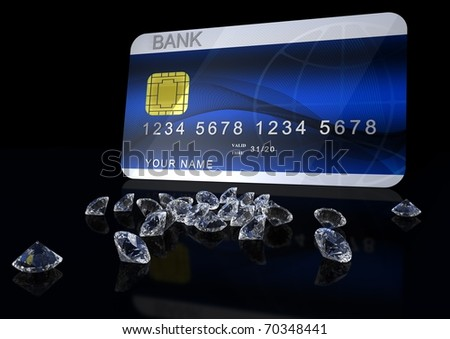 3d credit card with diamonds on black background - stock photo