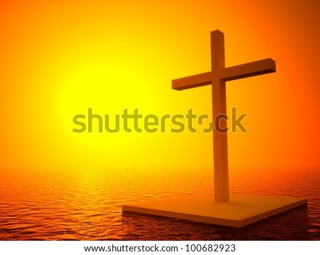 3d cross and sunset, symbol of death in the sea
