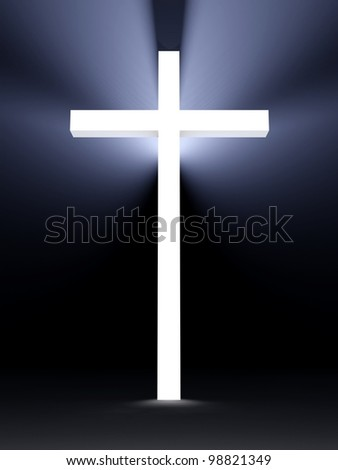 3d cross with lights, religious symbolism - stock photo