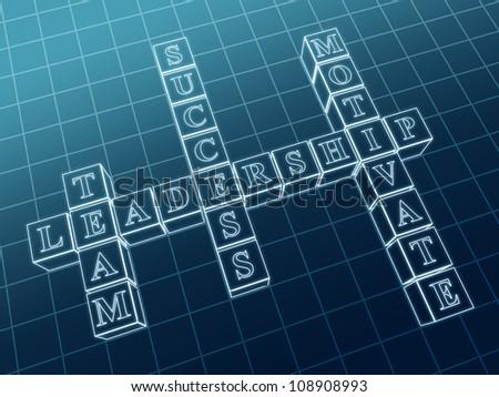 3d crossword - leadership; team, motivate, success