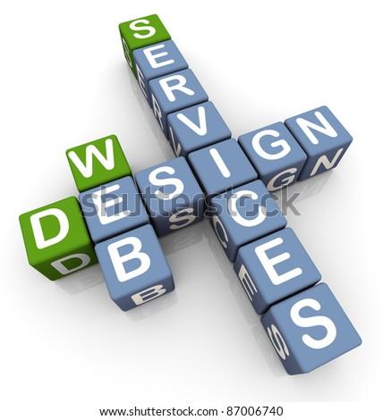 3d crossword of 'web design services'