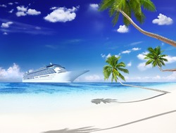 3D Cruise ship and beach with palm trees