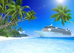3D Cruise Ship at Tropical Beach