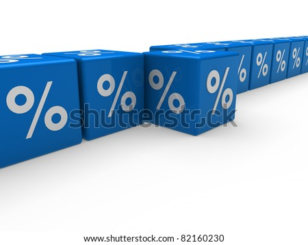 3d cube blue sale discount retail percentage - stock photo