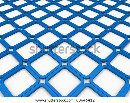 3d cube blue square background abstract white