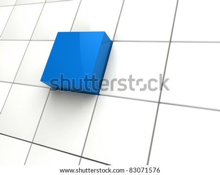 3d cube blue white area square abstract