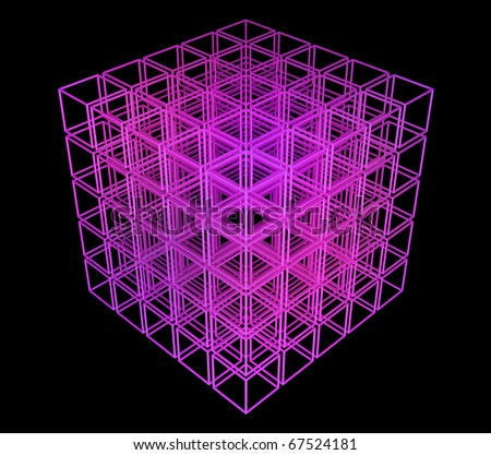 3D cube in perspective on a black background - stock photo