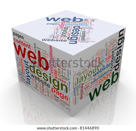 3d cube of wordcloud of 'web design'