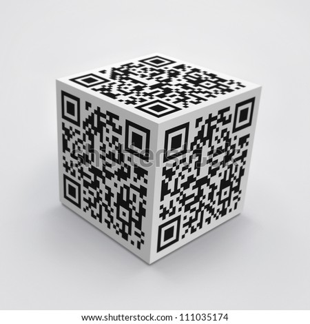 3D cube with QR code concept image