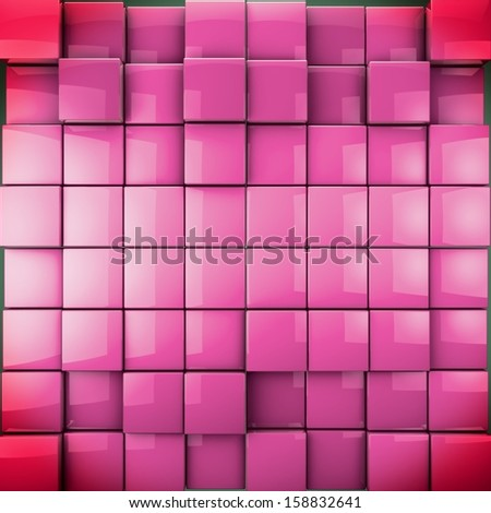 3D cubes as nice background in vivid red toned. Sexy and attractive concept.