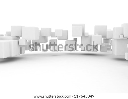 3D cubes background white