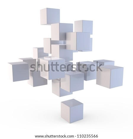 3d cubes puzzle on white background